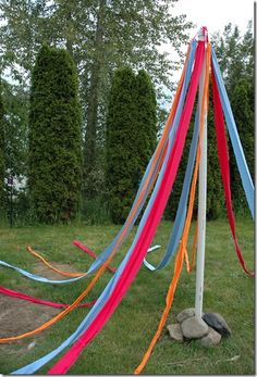 DIY May pole - How fun would this be? Who wants to dance?