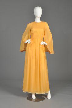 Hanae Mori 1970s Angel Sleeve Silk Chiffon Gown | BUSTOWN MODERN