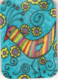 bird art trading cards