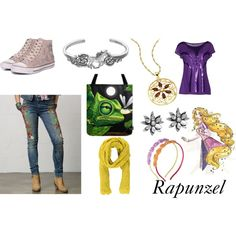 "Rapunzel  ""Disneybound"". Embroidered jeans FTW"