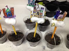 Letter Jj craft-Jack and the Beanstalk craft.  Kids plant a green bean seed into small cups and then watch them grow!