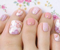 ガーリーなフラワーペディ Luv Nails, Pretty Toe Nails, Cute Toe Nails, Pretty Nail Art, Cute Acrylic Nails, Gorgeous Nails, Swag Nails, Ombre Nail Designs, Toe Nail Designs