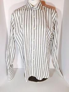 Banana Republic Dress Shirt Men's Medium 15-15.5 French Cuff Blue Striped (P10)  | eBay