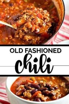 Old fashioned chili is an easy, delicious, homemade meal that is ready in just half an hour. My simple recipe combines beef and beans with a robust tomato sauce and spices for a hearty pot of chili you'll love. Old fashioned chili is an easy, Chilli Recipes, Bean Recipes, Soup Recipes, Cooking Recipes, Dinner Recipes, Chile Recipes Beef, Cooking Games, Cooking Bacon, Cooking Classes