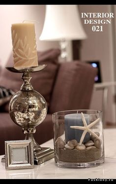 Love the and  shell in candle holder idea!