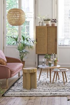 Waska oak and cane cabinet , oak, La Redoute Interieurs Kitchen Furniture, Home Furniture, Outdoor Furniture Sets, Interiores Art Deco, Pink Home Decor, Salon Design, Scandinavian Home, Living Room Inspiration, Lamp Inspiration