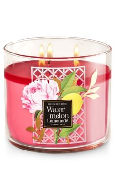 """Watermelon Lemonade - 3-Wick Candle - Bath & Body Works - The Perfect 3-Wick Candle! Made using the highest concentration of fragrance oils, an exclusive blend of vegetable wax and wicks that won't burn out, our candles melt consistently & evenly, radiating enough fragrance to fill an entire room. Topped with a flame-extinguishing lid! Burns approximately 25 - 45 hours and measures 4"""" wide x 3 1/2"""" tall."""