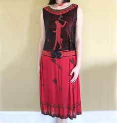 1920s Beaded Flapper Dress inspired by Grecian red-figure vases from GUERMANTES VINTAGE