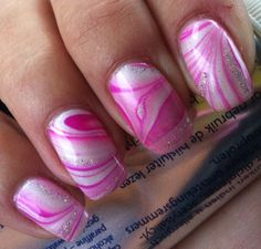 Water marble nail art...CG Summer neons & Orly au champagne........... so cute!