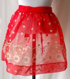 1950s Red Sheer hostess apron with white and gold flowers