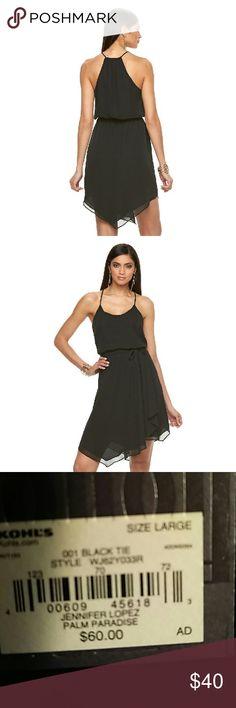 💥💥💥24 hour sale💥💥💥Jennifer Lopez Dress Jennifer lopez Palm paradise Racerback Asymmetic Dress comes with black belt. Brand new with tags Jennifer Lopez Dresses Asymmetrical