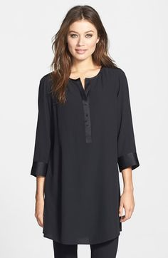 "Free shipping and returns on Eileen Fisher Silk Georgette Crepe Tunic (Regular & Petite) at Nordstrom.com. <p><B STYLE=""COLOR:#990000"">Pre-order this style today! Add to Shopping Bag to view approximate ship date. You'll be charged only when your item ships.</b></p><br>A rich silk tunic is polished with satin trim and styled for a flowing silhouette with three-quarter sleeves."