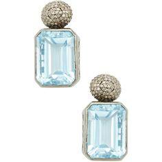 Jennifer Miller Women's Silver, 1.63 Total Ct. Diamond & Blue Topaz... (7.205 DKK) ❤ liked on Polyvore featuring jewelry, earrings, no color, blue topaz earrings, diamond drop earrings, blue topaz drop earrings, 14k diamond earrings and long silver earrings