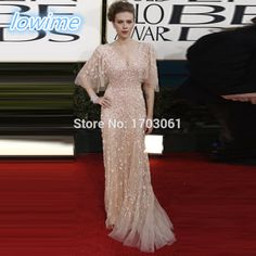 Find More Evening Dresses Information about High Quality Champagne Tulle Luxury Long Evening Celebrity Dresses Sexy V Neck Empire Scarlett Johansson Red Carpet Dresses 2017,High Quality dress childrens,China dress kate Suppliers, Cheap dresse from Lowime Boutique Store on Aliexpress.com