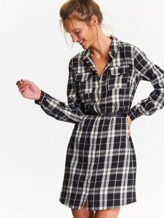 SUKIENKA DAMSKA W KRATĘ Plaid, Shirts, Fashion, Dress, Gingham, Moda, Fashion Styles, Dress Shirts, Fashion Illustrations