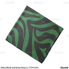 Zebra Black and Green Print Bandana