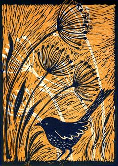 Bird with Alliums II (linocut, edition of 6) | Mary Hick | An image is drawn onto a piece of linoleum. Then the areas that are to appear blank in the final print are cut away with sharp chisels. Ink is rolled onto the uncut areas and the lino is pressed onto paper. The uncut surface gradually decreases as more areas are cut away More