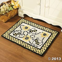 Bumble Bee Print Cotton Hooked Floor Rug Home Decor Accent NEW TVI1 6470J34