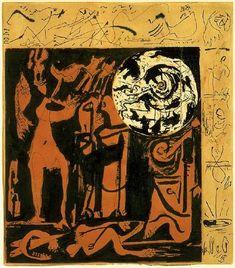 Untitled, 1943, Jackson Pollock Size: 34.3x39.1 cm Medium: colored pencils, pen, ink, watercolor, paper