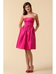 Dupioni Strapless Smocked Back Knee-Length Ball Gown Bridesmaid Dress