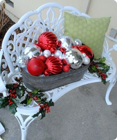 Outdoor Christmas Benches And Christmas Decorating Ideas