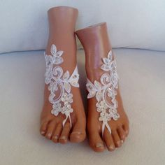 Free  ship bridal anklet white lace sandals Beach by GlovesByJana