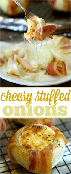 Mozzarella stuffed bacon wrapped onions are an amazing side dish or main course! Baked or grilled they are sweet and savory with lots of cheese oozing out. AD (onlyvidalia) via (Favorite Appetizers Bacon Wrapped) Onion Recipes, Pork Recipes, Lunch Recipes, Appetizer Recipes, Dinner Recipes, Cooking Recipes, Appetizers, Keto Recipes, Cheap Recipes