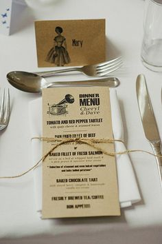 retro wedding menus | www.onefabday.com