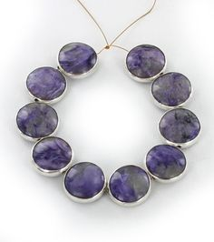 STERLING SILVER RIMMED CHAROITE BEADS 14.5mm COIN 10 Pcs from New World Gems