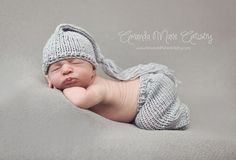 Knit baby pants with drawstring and tassle pixie by bebebeecouture