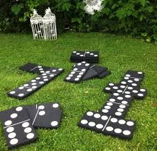 large blocks dominoes in the garden