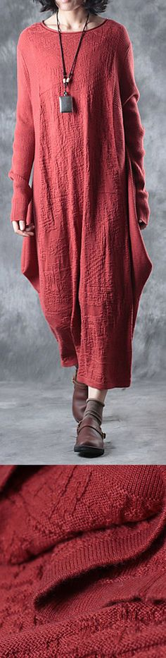 New red long sweaters dresses oversize asymmetrical design pullover sweater #knit#sweaterdress#sweaterdress#omychic