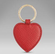 Panama leather heart key ring   http://www.smythson.com/red-panama-heart-key-ring.html