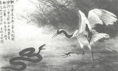 Le combat du serpent et de la grue (souvent une pie est représentée)