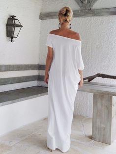 Maxi vestido blanco blanco Kaftan / asimétrico Plus tamaño vestido Oversize flojo vestido / #35022 Este maxi vestido elegante, sofisticado,
