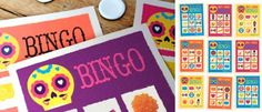 Easy to play printable picture bingo, put the head back on the skeleton, Day of the Dead games and parties for dressing up and getting your face painted!