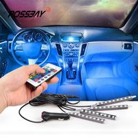 POSSBAY Remote Control and Remote + Music Voice Control DC 12V RGB Car Interior Floor Decorative Lights Strip For A4 A6 Accent