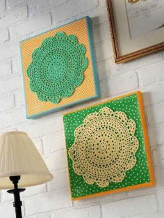 4 tutorials for upcycled #crochet doilies – table runner, bowl, cushion and wall art