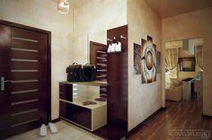 Dark Wood Door Design And Chrome Hook Design Plus White Storage In Contemporary Hall Furniture