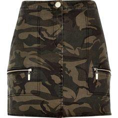 River Island Khaki camouflage print mini skirt ($33) ❤ liked on Polyvore featuring skirts, mini skirts, camouflage mini skirt, khaki mini skirt, camouflage skirt, button skirt and mini skirt