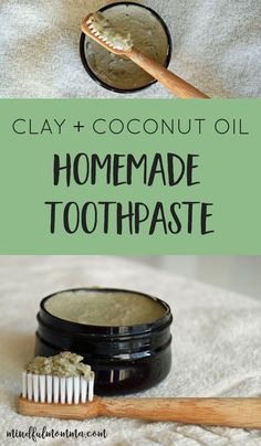 DIY natural homemade toothpaste recipe made with bentonite clay, coconut oil and essential oils.| #naturalproducts #DIY #toothpaste #coconut #essentialoils #homemade