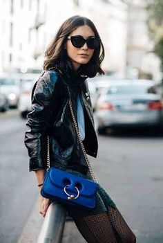 Image result for patent leather jacket street style