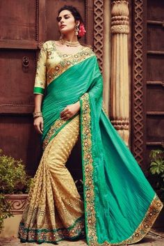 Alluring Teal Green Gold Net Half & Half Designer Saree.