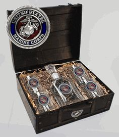 Marine Corps USMC Wood Chest Capitol Decanter Set with Glasses and Enamel Inlay $198.00