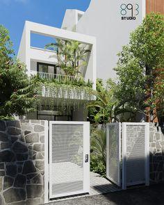 Minimal House Design, Modern Small House Design, Narrow House Designs, Model House Plan, Facade House, House Front, Building Design, Exterior Design, Home Fashion