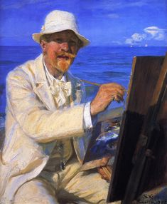 Self-Portrait, Sitting by His Easel at Skagen Beach - Peder Severin Kroyer
