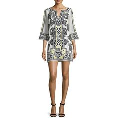 Alice + Olivia Lowell 3/4-Sleeve Southwestern Shift Dress ($515) ❤ liked on Polyvore featuring dresses, multi colors, colorful dresses, alice+olivia dresses, paisley day dress, 3/4 sleeve dress and caftan dress