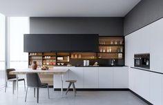 aménagement de cuisine avec des armoires de rangement blanches et dosseret bois graphiste Dmitriy Tereshchuk