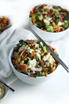 Asian Broccoli Salad with Miso Mayo, Edamame and Bacon (healthy make ahead lunch recipe) by Drool-Worthy