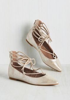 Make the Arabesque of It Flat. If the graceful footsteps of ballerinas enliven you like they do us, these pointed-toe flats will inspire you to make your morning abundantly beautiful! #silver #modcloth